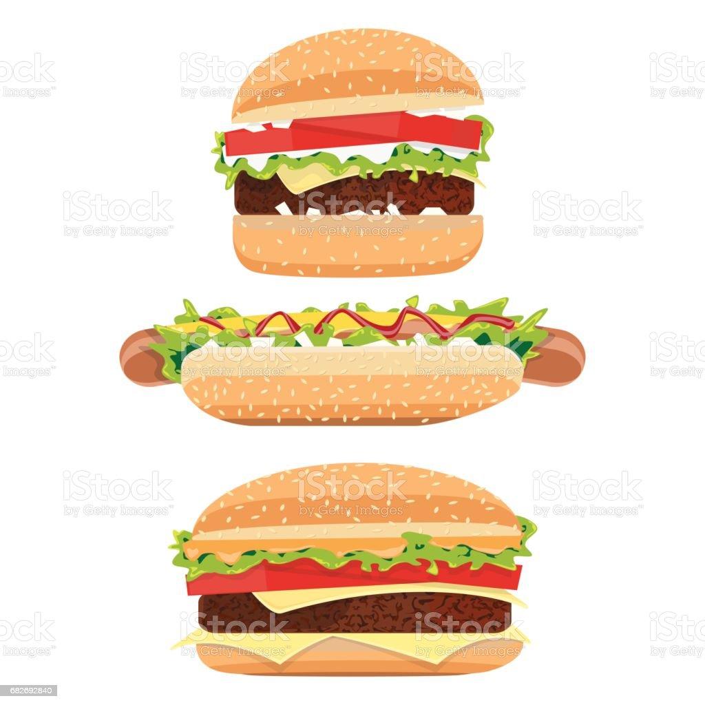 HotDog and hamburger vector art illustration
