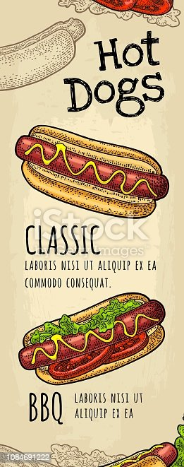 Restaurant or cafe menu with text. HotDog calligraphy lettering. Vintage monochrome vector engraving illustration on old beige craft paper