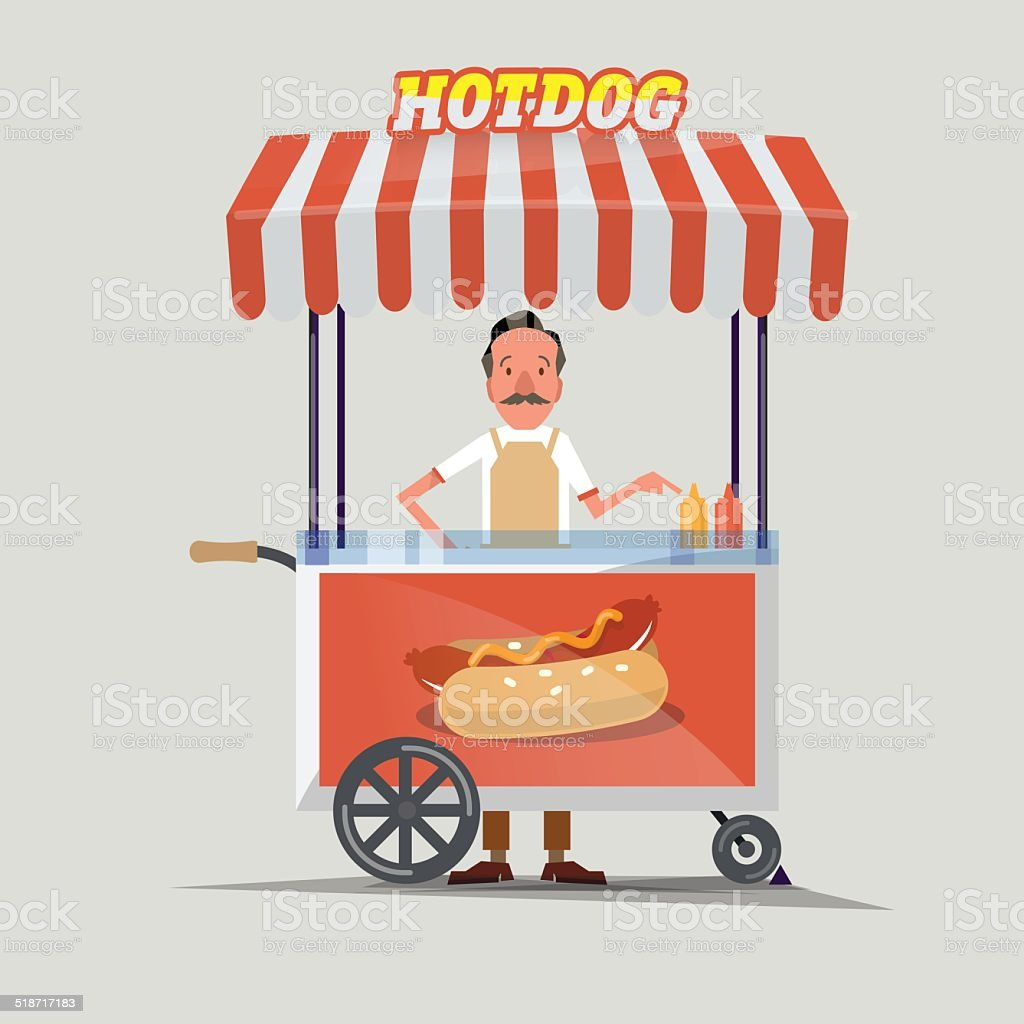 hot-dog cart with seller - vector illustration vector art illustration