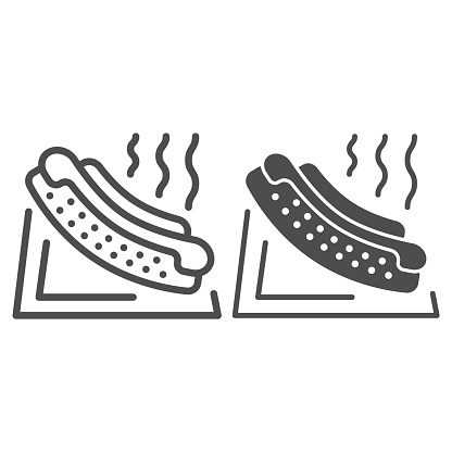 Hotdog line and solid icon, picnic concept, Hot dog sign on white background, American hotdog sandwich with ketchup and mustard icon in outline style for mobile concept, web design. Vector graphics.