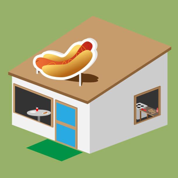 hotdog-stand - winkelküche stock-grafiken, -clipart, -cartoons und -symbole