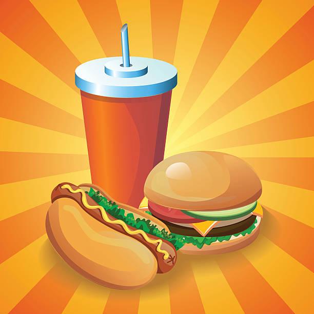 hotdogburgercola Vector fast food cartoon poster. Illustration for menu card with hamburger, hot dog and drink. cheeseburger stock illustrations