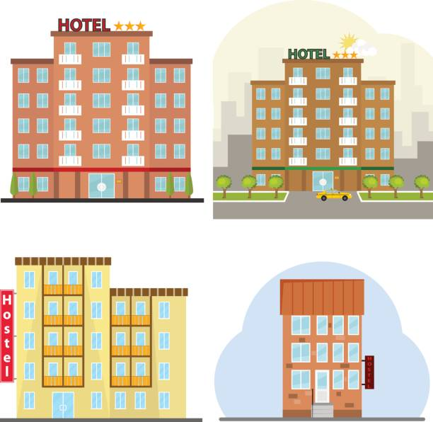 Hotel, a hotel suite, a hostel, a place to stay overnight. Hotel, a hotel suite, a hostel, a place to stay overnight. Flat design, vector illustration, vector. hotel stock illustrations