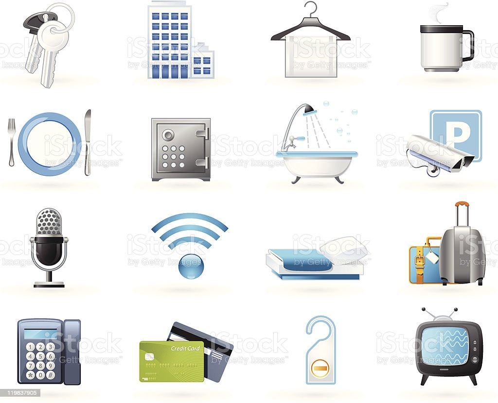 Hotel accommodation amenities royalty-free stock vector art
