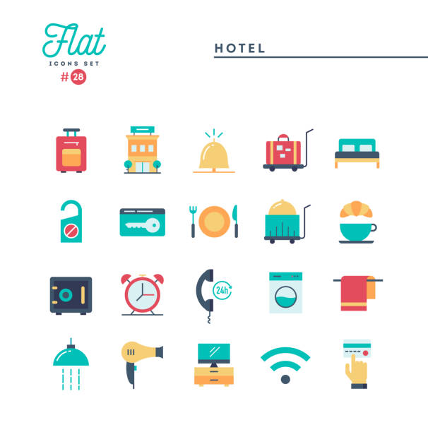 stockillustraties, clipart, cartoons en iconen met hotel, accommodatie, roomservice, restaurant en meer, plat pictogrammen instellen - plat