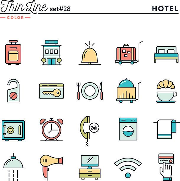 Hotel, habitaciones, servicio a la habitación, restaurante y mucho más - ilustración de arte vectorial