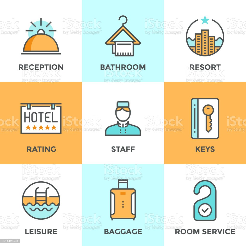 Hotel accommodation services line icons set vector art illustration