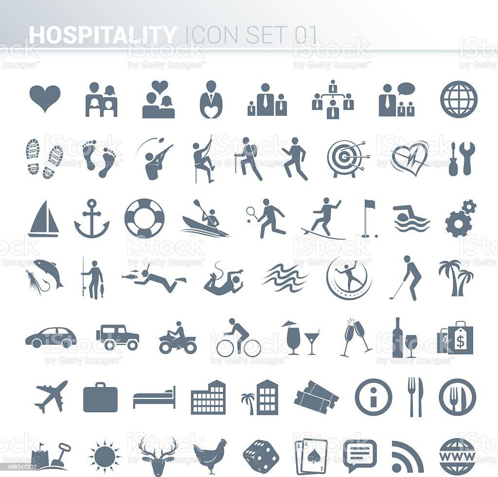 Hotel activity icons vector art illustration