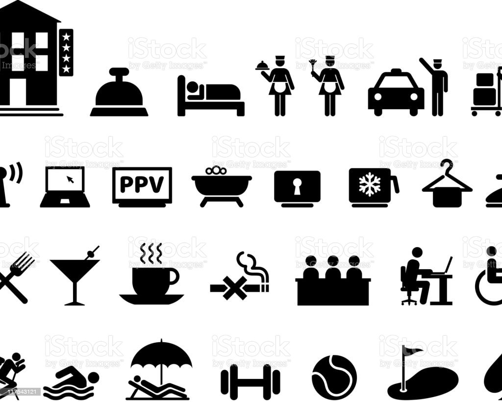Hotel amenities complete black & white vector icon set royalty-free stock vector art