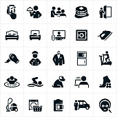 A set of hotel amenities icons. The icons include room service, dining, breakfast, hotel staff, reservations, doorman, queen bed, single bed, television, safe, iron, hairdryer, dry-cleaning, laundry, washer, fridge, microwave, fitness facility, hot tub, sauna, swimming, pet, internet, spa, housekeeping, coffee maker and hotel shuttle to name a few.