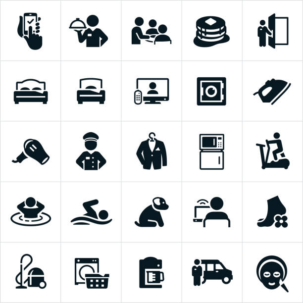 annehmlichkeiten des hotels-icons - mittel stock-grafiken, -clipart, -cartoons und -symbole