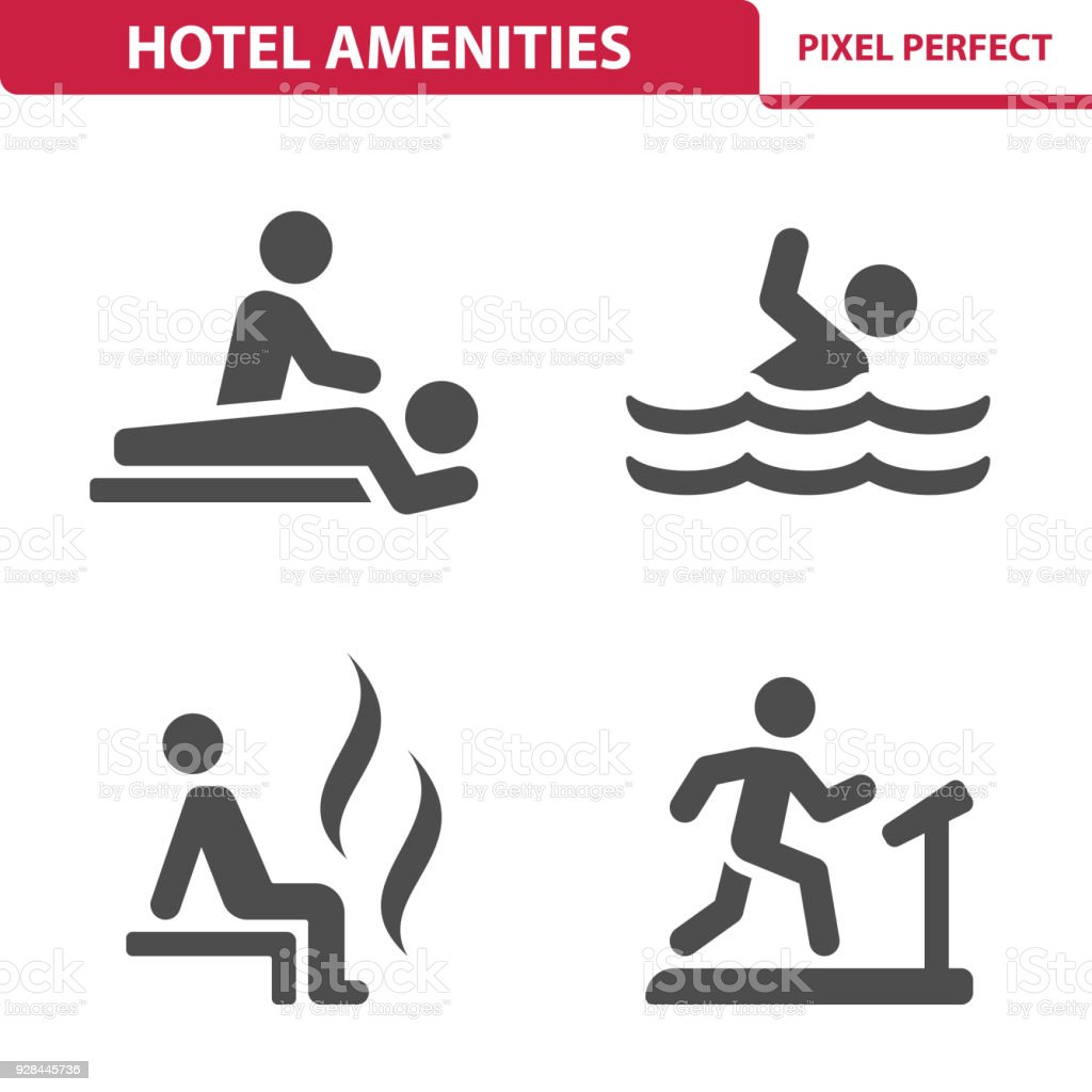 Hotel Amenities Icons vector art illustration