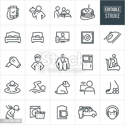 A set of hotel amenities icons that include editable strokes or outlines using the EPS vector file. The icons include a reservation on a mobile phone, a concierge, chef, bellhop, door attendant, waiter, breakfast, double bed, single bed, television, safe, iron, blowdryer, dry cleaning, microwave, refrigerator, elliptical machine, hot-tub, swimming pool, internet, spa services, message, laundry, coffee maker and shuttle bus to name a few.