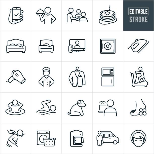 stockillustraties, clipart, cartoons en iconen met hotel voorzieningen thin line iconen - bewerkbare beroerte - voedsel en drank serveren
