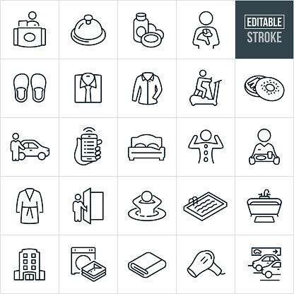 Hotel Amenities Thin Line Icons - Editable Stroke
