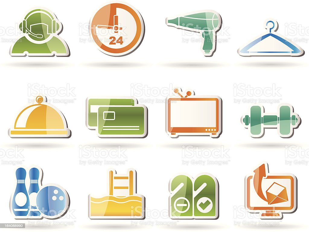 hotel and motel amenity icons royalty-free stock vector art