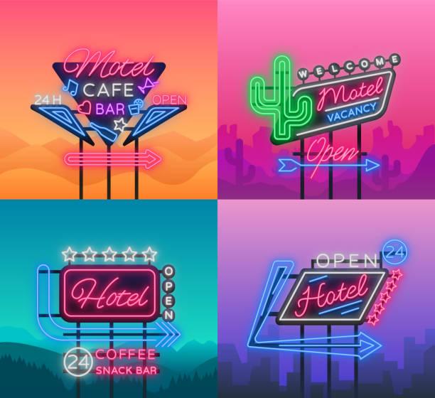 hotel i motel są kolekcją neonów. ilustracja wektorowa. kolekcja szyldów retro, billboard ze wskazaniem hotelu lub motelu, nocna neonowa reklama hotelu, świetlisty baner - motel stock illustrations