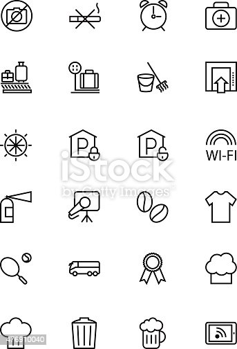 Hotel and Restaurant Line Icons 9