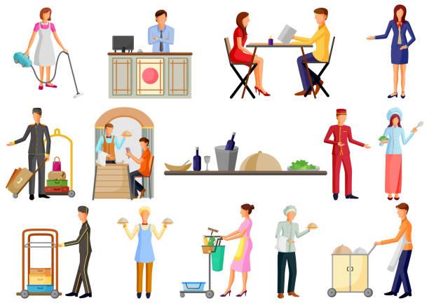 illustrazioni stock, clip art, cartoni animati e icone di tendenza di hotel and restaurant service industry staff, chef, waiter and reciptionist - cameriera