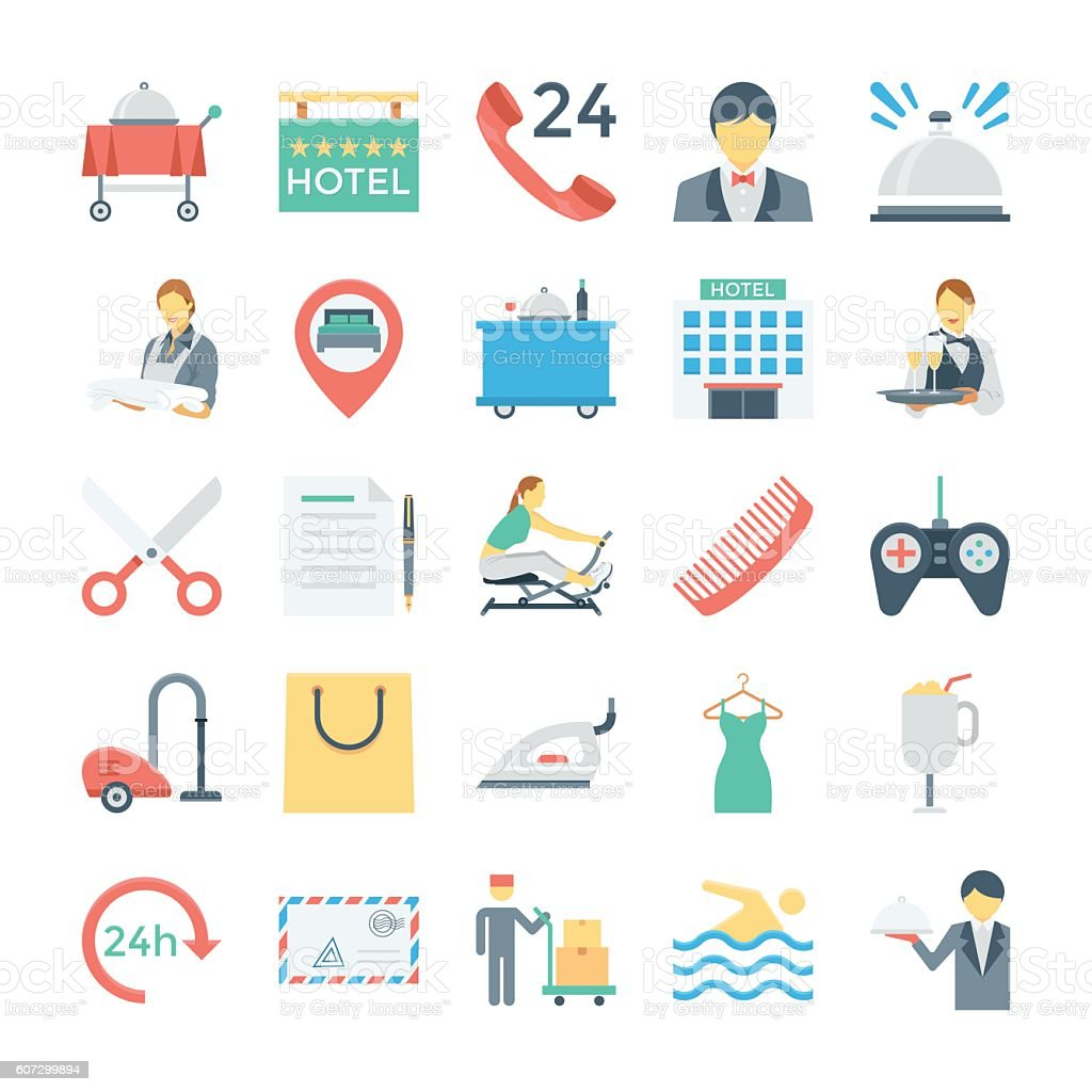 Hotel and Services Colored Vector Icons 3 vector art illustration