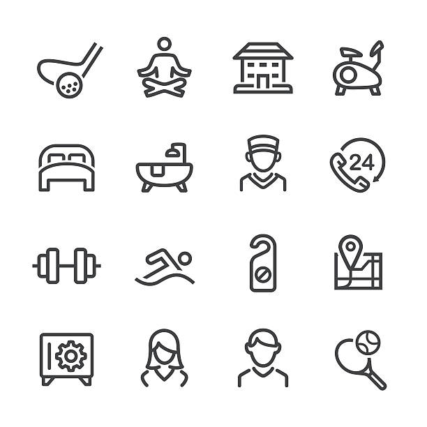 Hotel and Services Icons Set - Line Series - Illustration vectorielle