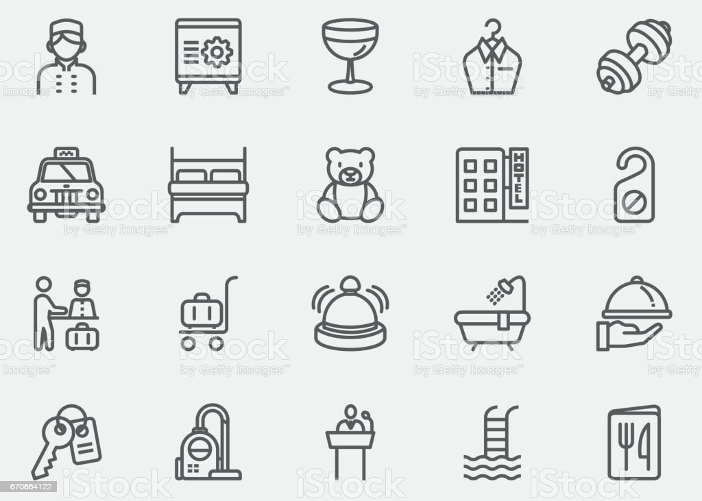Hotel and Services Line Icons | EPS10