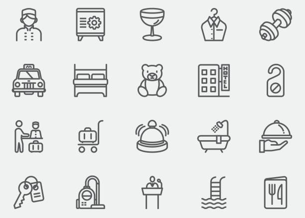 hotel and services line icons | eps10 - receptionist stock illustrations, clip art, cartoons, & icons