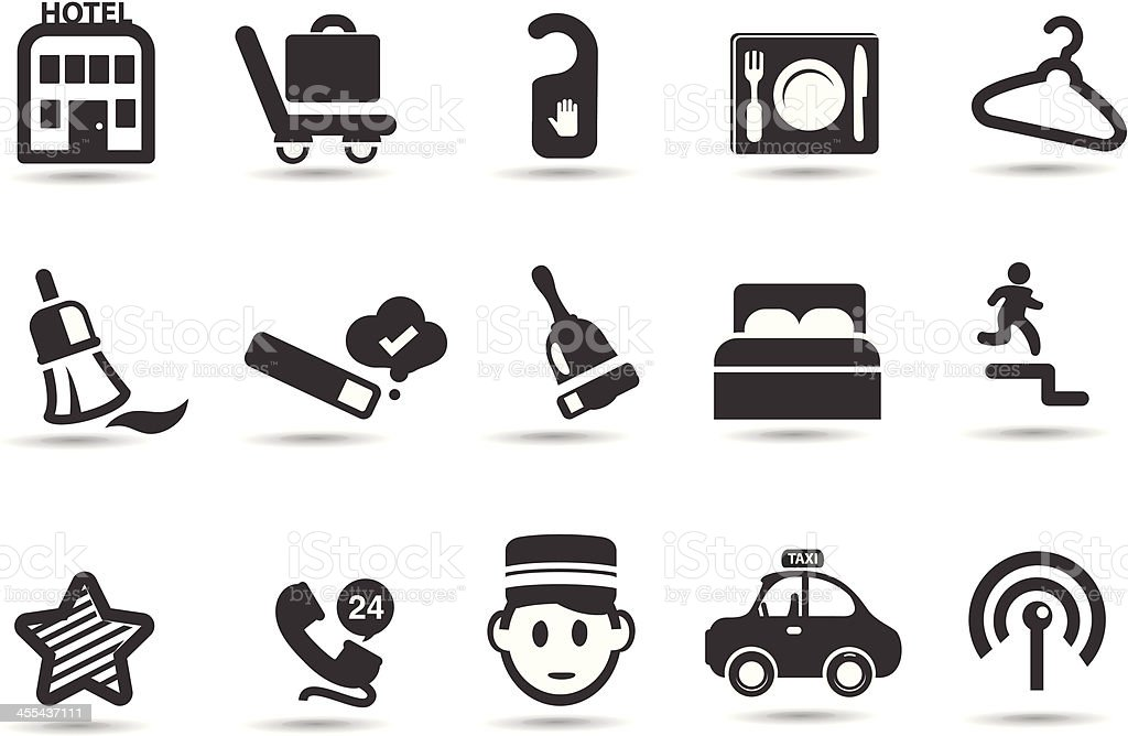 Hotel and Tourism Icon Set vector art illustration