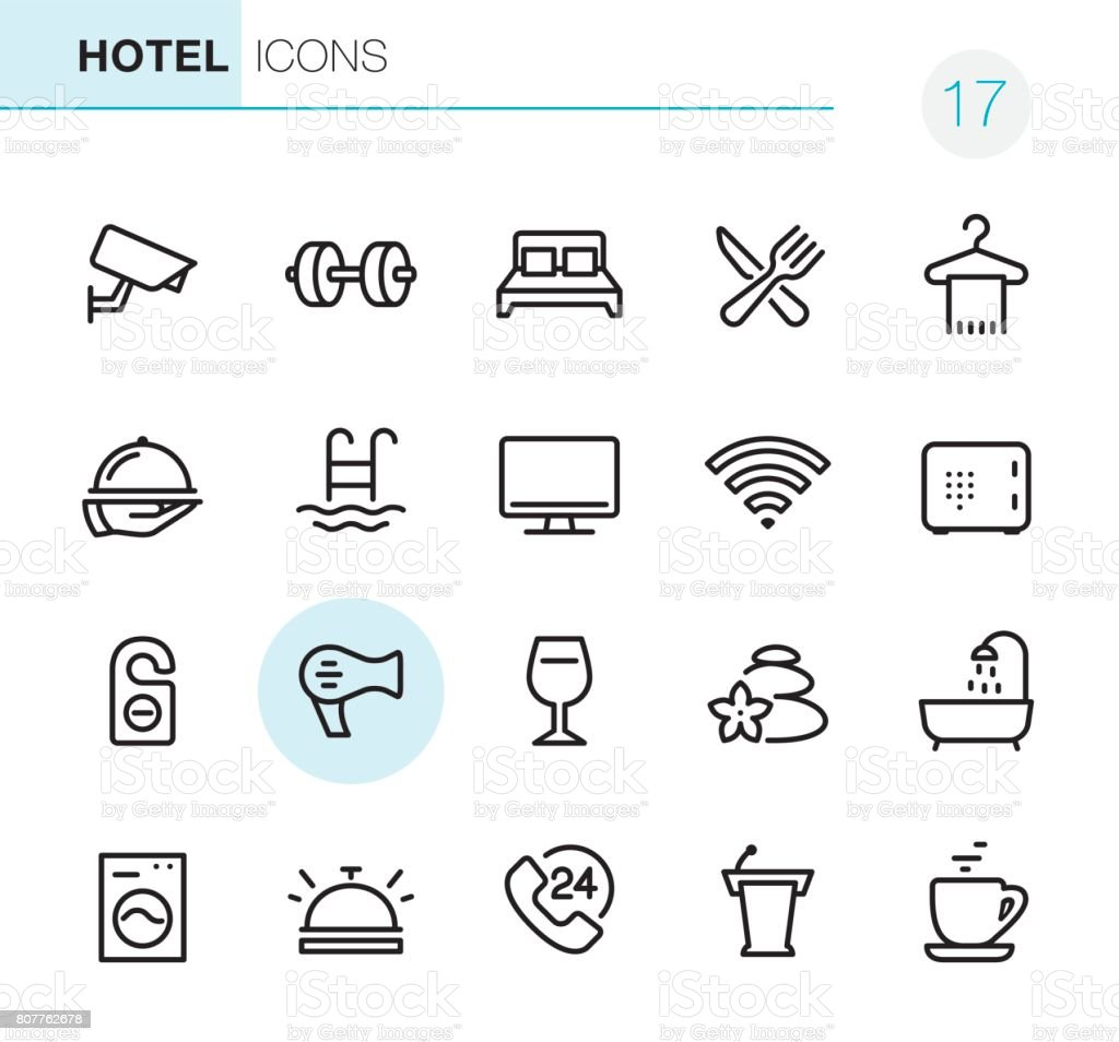 Hotel and Travel - Pixel Perfect icons vector art illustration
