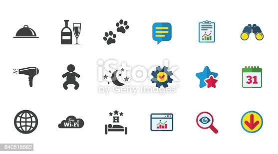 istock Hotel, apartment service icons. Restaurant sign. 840518562