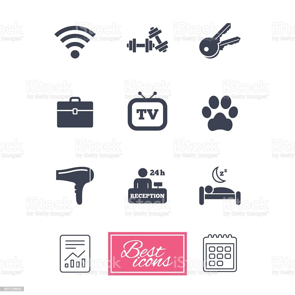 Hotel Apartment Service Icons Wifi Internet Stock