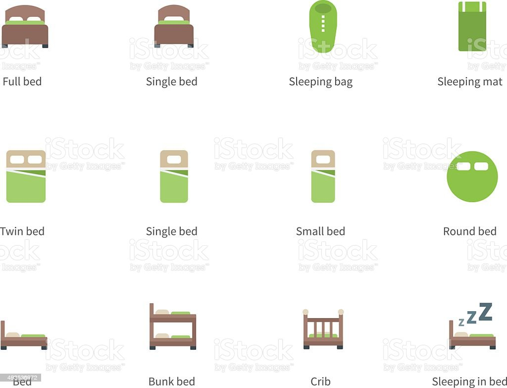 Hotel beds and Sleep signs color icons on white background vector art illustration