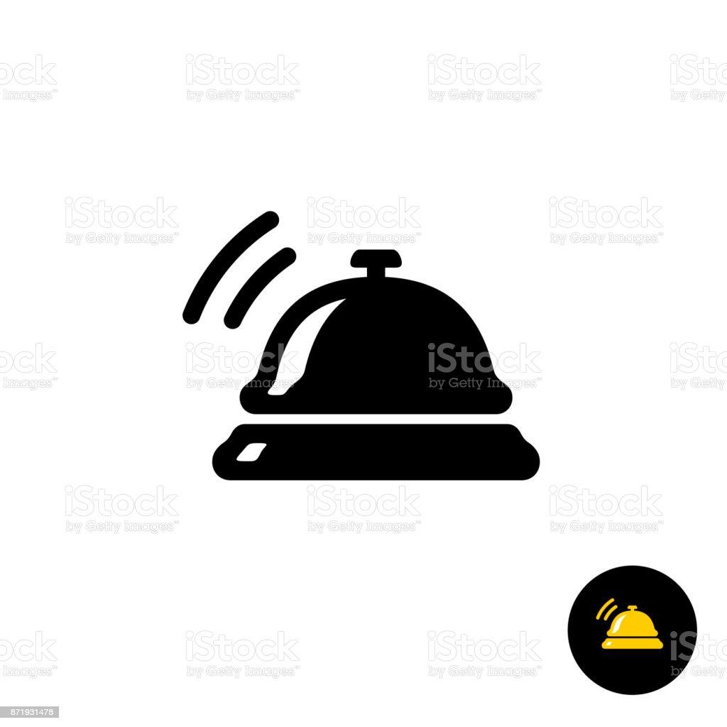 Icône de cloche noir hôtel - Illustration vectorielle