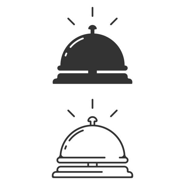 hotel bell icon. reception bell vector design on white background. - hotel reception stock illustrations