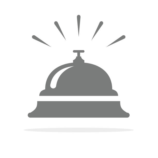 hotel bell, service bell, reception bell icon. vector illustration. - hotel reception stock illustrations
