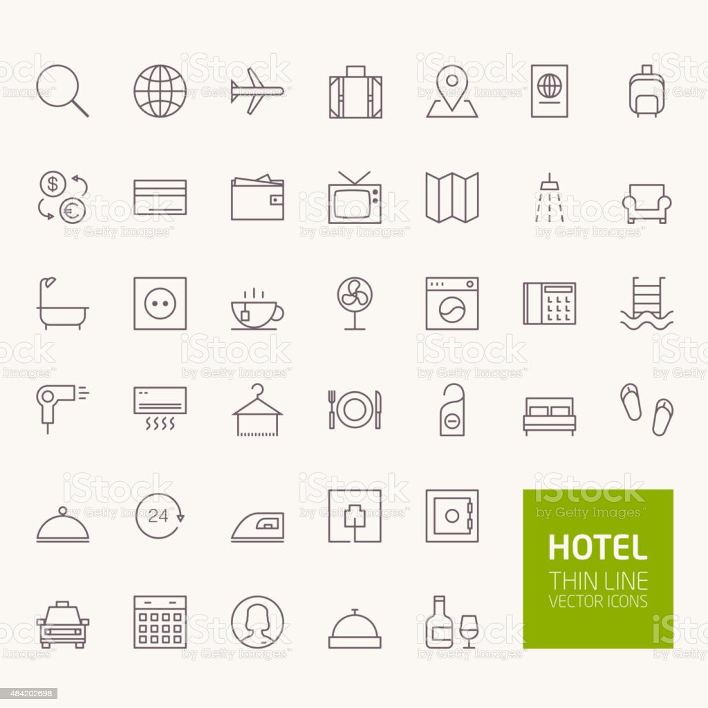 Hotel Booking Outline Icons for web and mobile apps vector art illustration