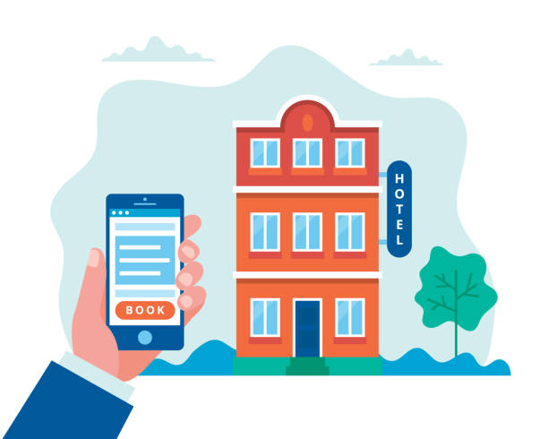 Hotel booking, searching and reservation. Hand holding a smartphone. Concept vector illustration in flat style vector illustration in flat style hotel stock illustrations