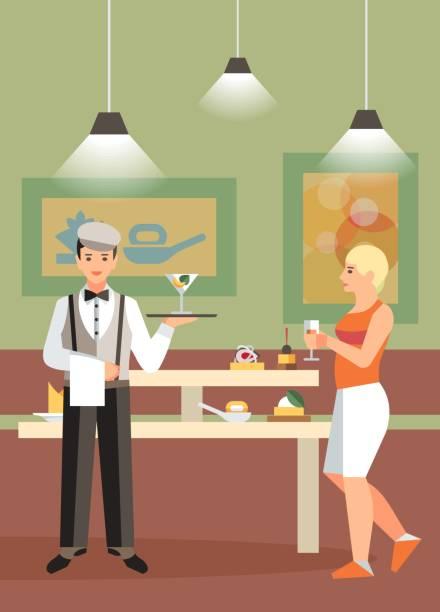 hotelbuffet, restaurant flat vector illustration - salatbar stock-grafiken, -clipart, -cartoons und -symbole