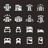 hotel building and bedroom icon set, white version, vector eps10
