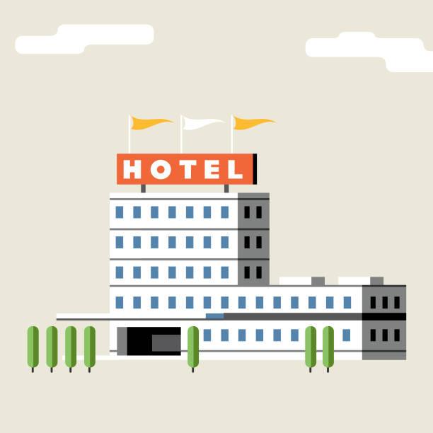 Hotel Building + flags vector art illustration