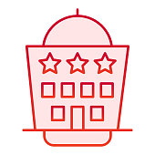 Hotel building flat icon. Architecture red icons in trendy flat style. Hotel house with three stars gradient style design, designed for web and app. Eps 10