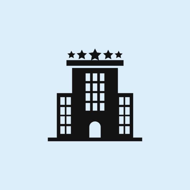 illustrations, cliparts, dessins animés et icônes de icône plate de bâtiment d'hôtel. éléments des icônes d'illustration de bâtiments. signes, symboles peuvent être utilisés pour le web, logo, application mobile, interface ui, ux sur le fond du ciel - réception en plein air