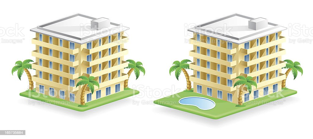 Hotel Building Icons vector art illustration