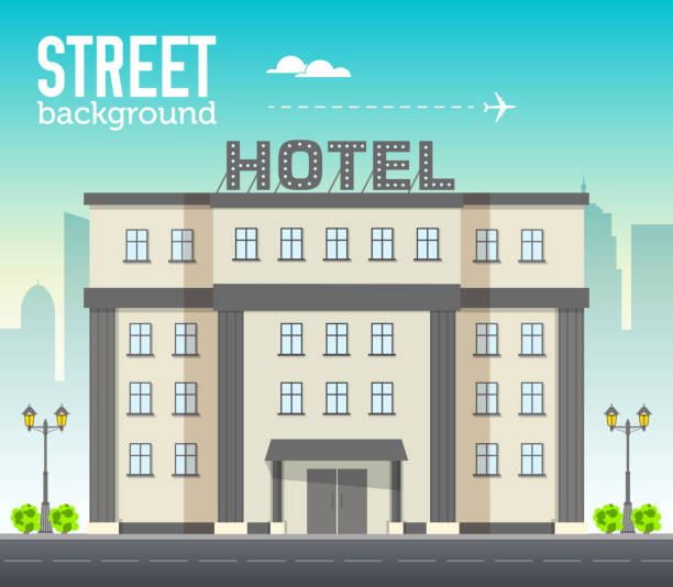 Hotel building in city space with road on flat style background concept. Vector illustration design Hotel building in city space with road on flat style background concept. Vector illustration hotel stock illustrations
