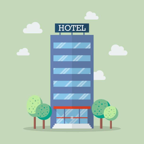 hotelgebäude im flachen stil - rezeptionseingang stock-grafiken, -clipart, -cartoons und -symbole