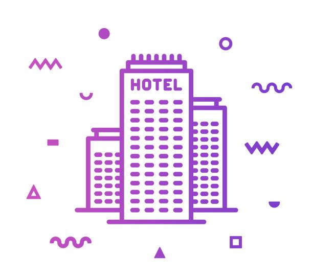 illustrations, cliparts, dessins animés et icônes de conception d'icône de style d'hôtel de construction - réception en plein air