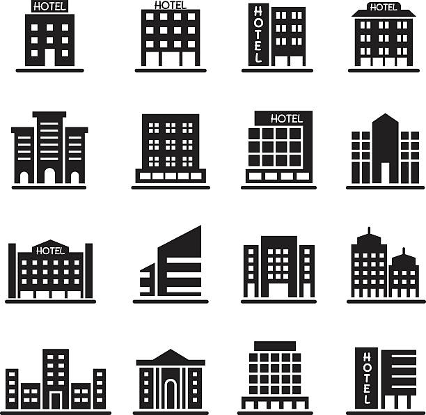 hotel building, office tower, building icons set illustration - architecture clipart stock illustrations