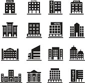 Hotel Building, Office tower, Building icons set illustration