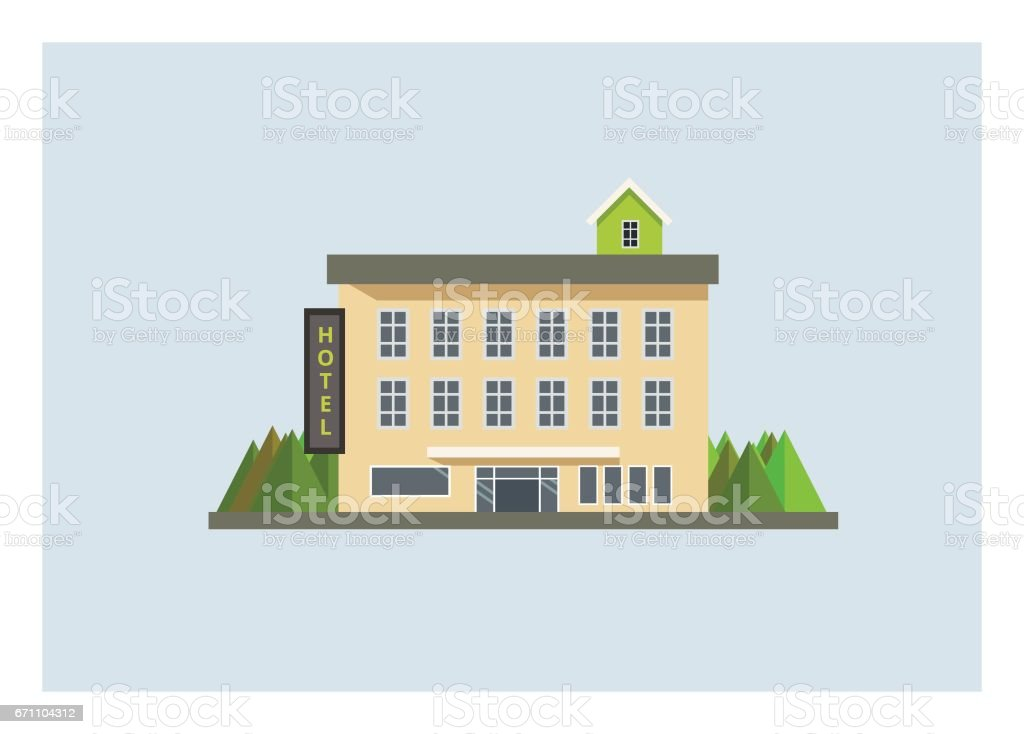 Hotel Building Simple Flat Illustration Stock Illustration