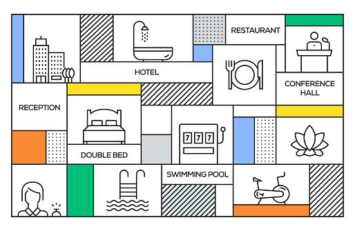 Hotel Concept. Geometric Retro Style Banner and Poster Concept with Hotel Line Icons
